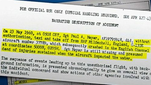 Part of the official US Air Force report into Paul Meyer's theft of the Hercules aircraft. (Image: Deeper Dorset).