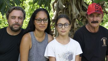 A group who have been stranded in Tahiti, pictured from left, Benjamin Baude, Kissy Ika Chavez Baude, Gaïa Baude Ika and Thierry Gourtay in Afareaitu on Moorea Island, Tahiti, Saturday, September 19, 2020