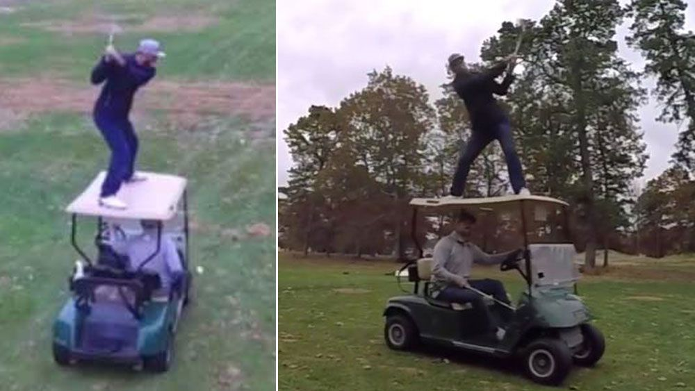 Golfer plays trick shot from the roof of a moving cart