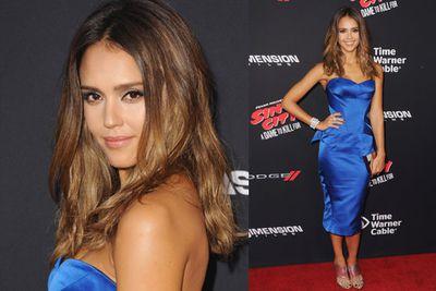 Jessica Alba in a silk blue dress. What a hottie!