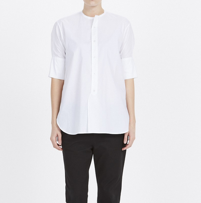 "<a href=""http://www.bassike.com/women/shirts/cotton-cropped-sleeve-shirt-ss16wft84-wht"" target=""_blank"">bassike</a>&nbsp;cotton cropped white shirt, $295"