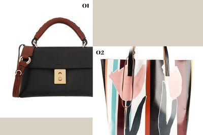 "<p><b>01.</b><a href=""http://www.net-a-porter.com/au/en/product/543468"" target=""_blank"">Fedora Small Leather Shoulder Bag, $2,244, Chloé</a></p> <p><b>02.</b> <a href=""http://www.farfetch.com/au/shopping/women/marni-striped-tote-item-10871389.aspx?storeid=9783&ffref=lp_205_4_"">Striped Tote, $293.11, Marni</a></p>"
