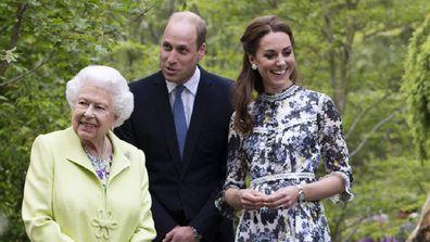 Prince William Queen Elizabeth Kate Middleton visit garden