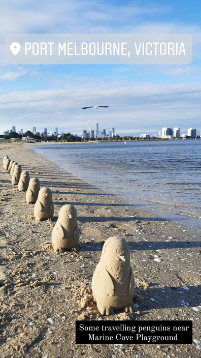 Sand penguins pop up at a beach in Port Melbourne during lockdown