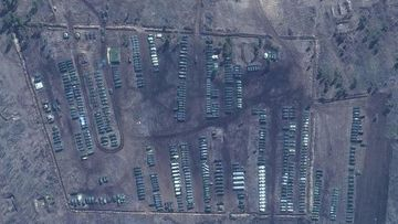 A satellite image provided by Maxar Technologies shows tanks and other military equipment at the Russian military's Pogorovo training area, near Voronezh, Russia on April 10, 2021.