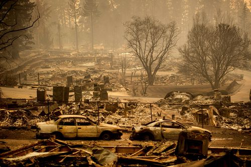 Homes levelled by the Camp Fire line a development on Edgewood Lane in Paradise.