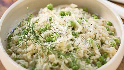 "Recipe: <a href=""http://kitchen.nine.com.au/2016/05/05/13/46/luke-mangans-fennel-and-pea-risotto"" target=""_top"">Luke Mangan's fennel and pea risotto</a><br /> <br />"