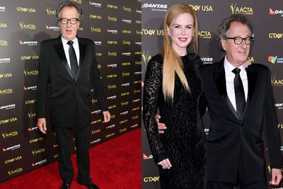 Geoffrey Rush and Nicole Kidman cosied up like old buddies for the influx of photographers.
