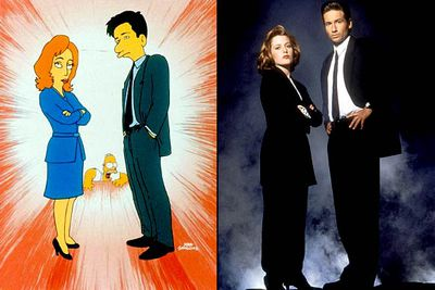 "<B>Appeared in:</B> 'The Springfield Files' (1997). Gillian and David played their <I>X-Files</I> characters, FBI agents Scully and Mulder, who ventured to Springfield to investigate when Homer apparently encounters an alien.<br/><br/><B>Best line:</B> [Mulder is dismissive when Scully points out the FBI should be investigating shipments of drugs and illegal weapons instead of unsubstantiated UFO sightings] ""I hardly think the FBI is concerned with matters like <I>that</I>."""