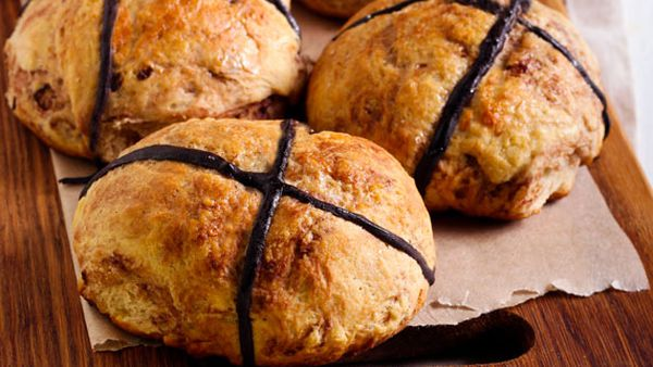 Chocolate infused hot cross buns