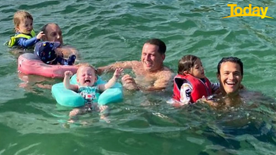 Baby Harper did not appreciate the ocean.