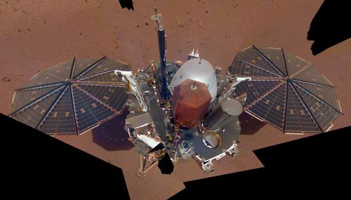 NASA's Mars lander used its robotic arm to take a selfie.