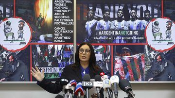 Minister of Culture and Sport of Israel Miri Regev speaks about Argentina's cancellation of a friendly game. (AAP)