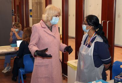 The Duchess of Cornwall talks to Dr Shaikh (right) during a visit to the Community Vaccination Centre at St Paul's Church, Croydon, where she thanked NHS staff and church representatives supporting the UK vaccination rollout. Picture date: Wednesday March 3, 2021.