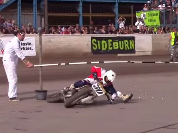 Dirt biker does the limbo