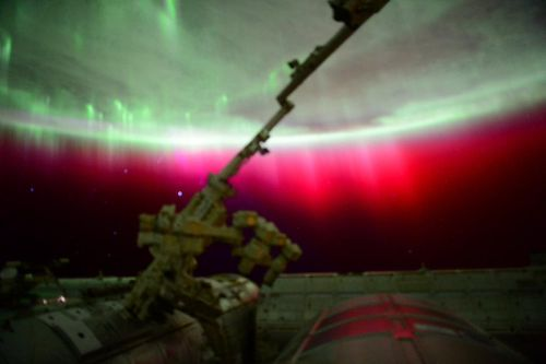 The auroras are a result of recent severe geomagnetic activity in the Earth's atmosphere. (Scott Kelly/NASA)