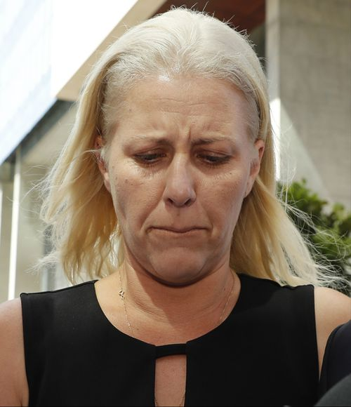 An emotional Heidi Strbak faces the media outside the Supreme Court after being granted bail for the manslaughter of her four-year-old son Tyrell Cobb in 2009.