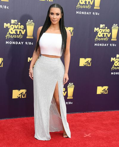 Reality TV star Kim Kardashian-West in Versace at the 2018 MTV Movie and TV Awards