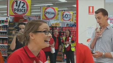 A Coles employee was surprised by her boyfriend who proposed during one of her shifts at a Brisbane store.