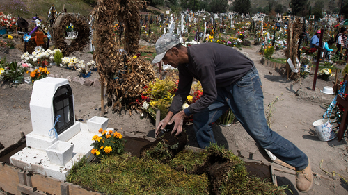 Cemetery worker Jorge Arvizu spreads a top dressing of green on the grave of Vicente Dominguez who died of complications related to the new coronavirus, at the municipal cemetery Valle de Chalco, on the outskirts of Mexico City, Tuesday, Oct. 20, 2020.