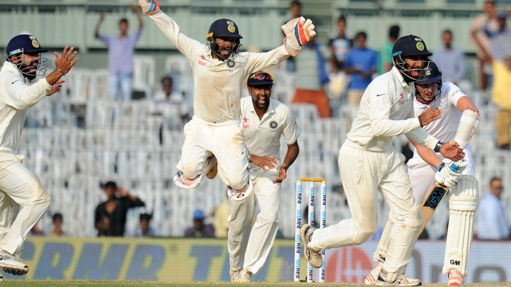 India celebrate after winning the Fifth Test against England. (AAP)