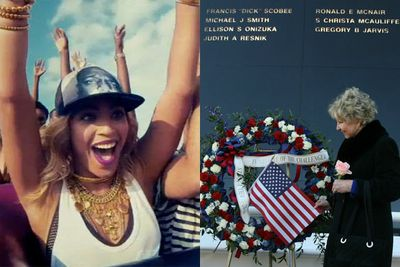 Beyonce's single 'XO' caused a fuss with its sample of audio from a 1986 radio broadcast moments after the ill-fated Challenger space shuttle exploded and killed its seven crew members.<br/> <br/>Families and colleagues of the NASA crew members called the sample 'inappropriate to the extreme', according to ABC US. Beyonce apologised but refused to remove the audio.<br/><br/>Image: June Scobee Rodgers, the widow of Challenger commander Dick Scobee, said she was 'disappointed' in the singer. Sony Music/Getty