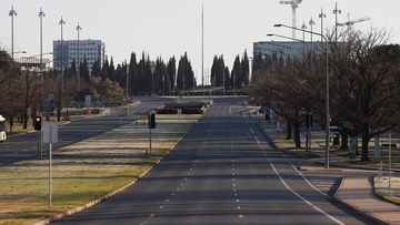 Streets are empty amid lockdown in Canberra.