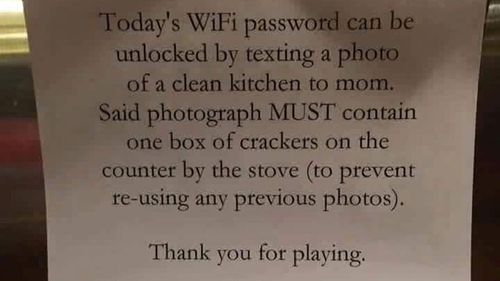 Mum offers WiFi password in exchange for clean kitchen