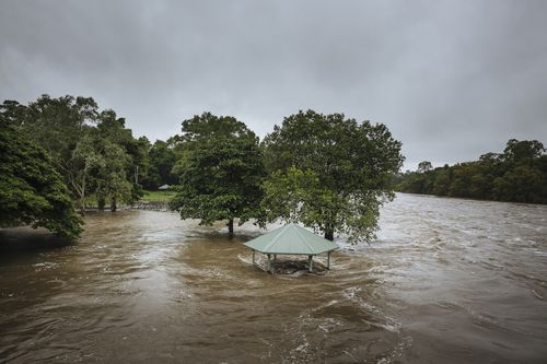Floodwaters across Ross River in Townsville.
