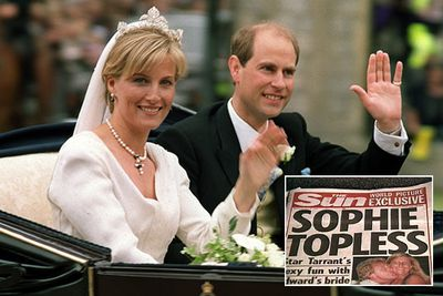 A decade-old topless shot of Sophie Rhys-Jones was published by UK newspaper <i>The Sun</i> in the lead-up to her 1999 marriage to Prince Edward. After complaints from Buckingham Palace, the paper published a full-page apology the following day.