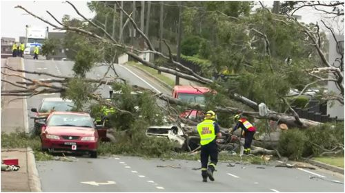 Damaging winds have swept through Sydney overnight with more set to come this morning.