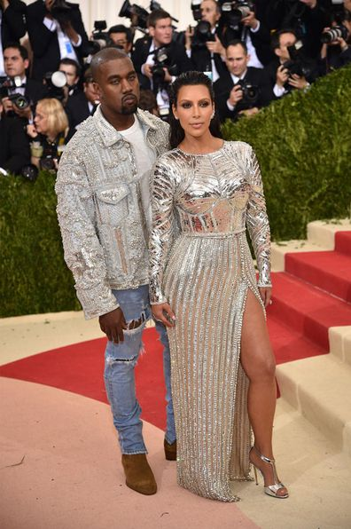 Kanye West and Kim Kardashian at the Costume Institute Gala at Metropolitan Museum of Art on May 2, 2016 in New York City