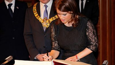 Princess Eugenie signs a book in Berlin, Germany, 2013