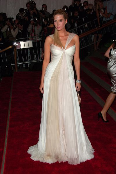 Ivanka Trump in  J. Mendel at the 2008 Met Gala, <em>Superheroes: Fashion and Fantasy. </em>It's all about the headdress.&nbsp;