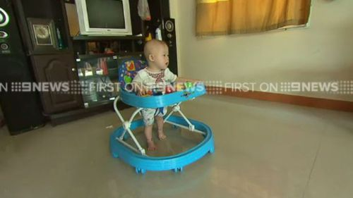 Baby Gammy settling into his new home. (9NEWS)