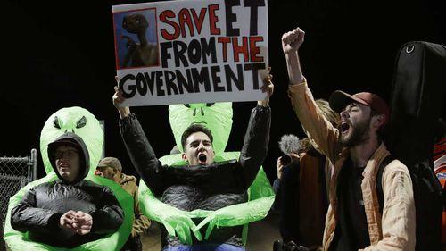 Demonstrators outside Area 51 in Nevada.