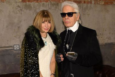 Clearly US <I>Vogue</I> editor Anna Wintour and Chanel's Karl Lagerfeld are having a laughing competition.