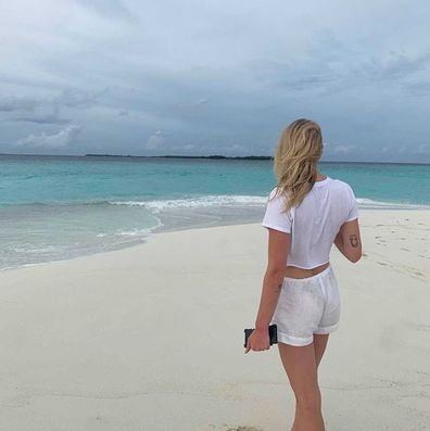 Sophie Turner on honeymoon at Soneva Fushi in the Maldives