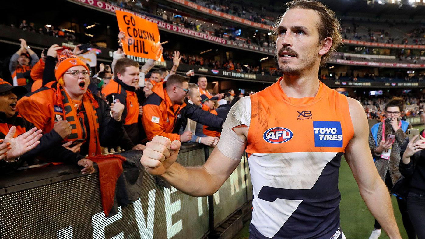 Phil Davis of the Giants celebrates during the 2019 AFL First Preliminary Final