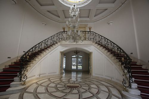 The extravagant hall in the mansion.