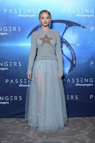 Jennifer Lawrence at the Passengers press call held at the George V in Paris wearing Dior.