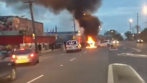 A man has suffered critical burns after his car exploded into a ball of flames.