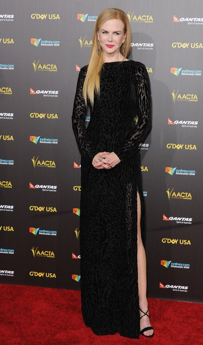 <p><strong>Nicole Kidman 3</strong></p> <p>A tentative leg from Nicole at G'day USA in Altuzarra.</p> <p>&nbsp;</p>