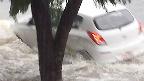 A twitter photo of the flash flooding from the storm in Queensland's south-east. (supplied)