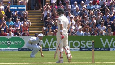 Stokes reacts as Cook goes down
