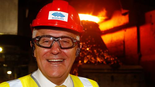Prime Minister Malcolm Turnbull was able to handle the heat at the Port Kembla steelworks today, but will he be able to handle the heat when he returns to Canberra? (Image: AAP)