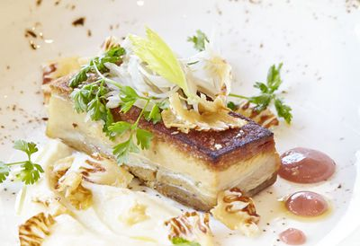 Western plains pork belly with celeriac puree