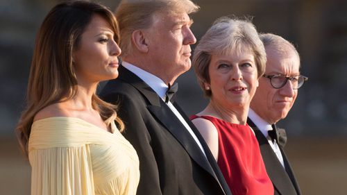 Mr Trump's reception with the British PM was warmer than the one he received by some members of the public.