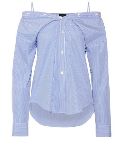 """<a href=""""https://www.witchery.com.au/products/60212750/Lace-Off-Shoulder-Top.html"""" target=""""_blank"""">Theory Tamalee Off-The-Shoulder Striped Cotton Poplin Shirt, $364.17.</a>"""