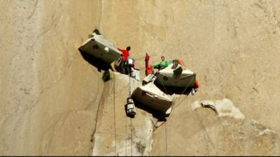 Free climbing means climbers only use ropes to keep themselves from falling, not to pull themselves up. (9NEWS)